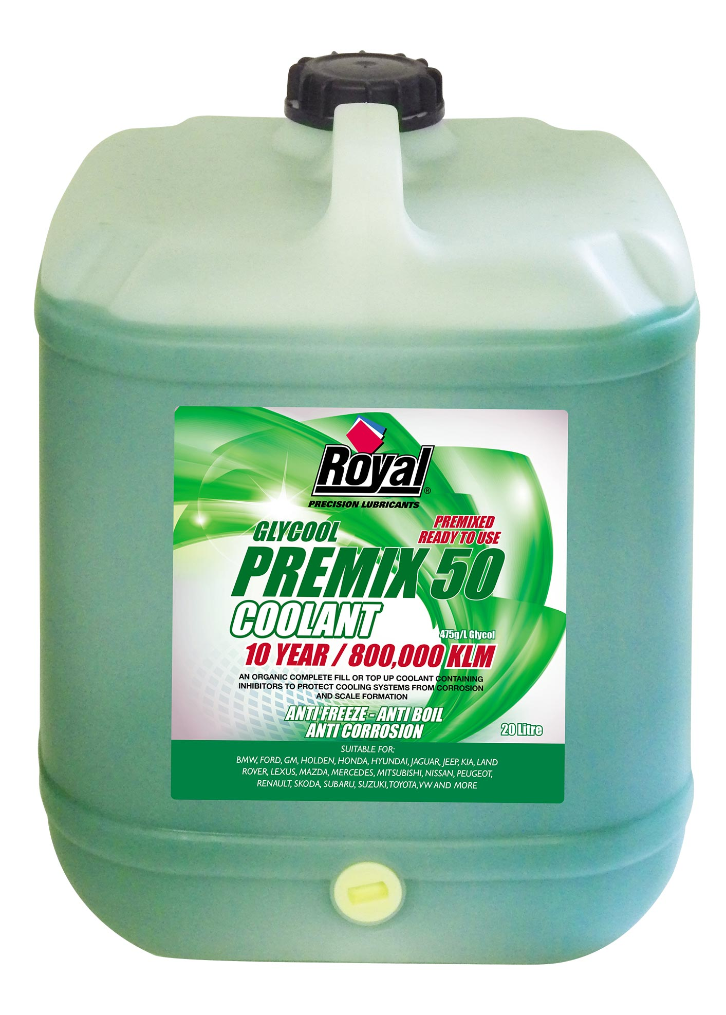 Royal Lubricants Glycool Premix 50 Coolant Kia Long Life 6028